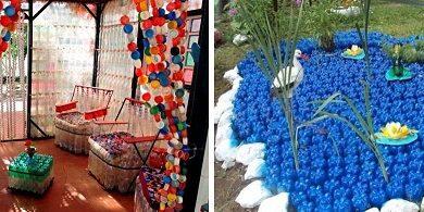 Оригинална украса за градината от пластмасови бутилки. Следвай ме - Хоби