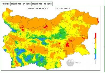 Екстремален индекс за пожароопасност е в сила на места в осем области на страната на 21 август. Следвай ме - Общество