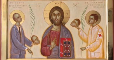Православен и католически мъченици на обща икона Нарисува я отец Добромир Димитров, единият образ е на Франц Ягерстатер, другият на Александър Шморел Следвай ме - Вяра